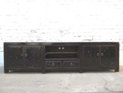 China TV Kolonial Stil Kommode Lowboard für Flachbildschirm vintage Lackschwarz Holz
