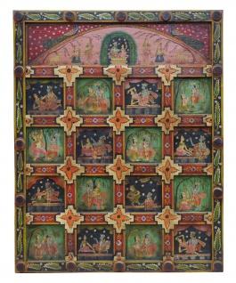 Indien großartig bemaltes Wandbild Panel zahlreiche religiöse Motive