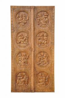 Türblatt mit antiken Kamasutra Motiven Indien Vollholz geschnitzt - Vorschau