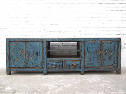 Asien großes TV Lowboard Kommode heavy used vintage Optik in Blau