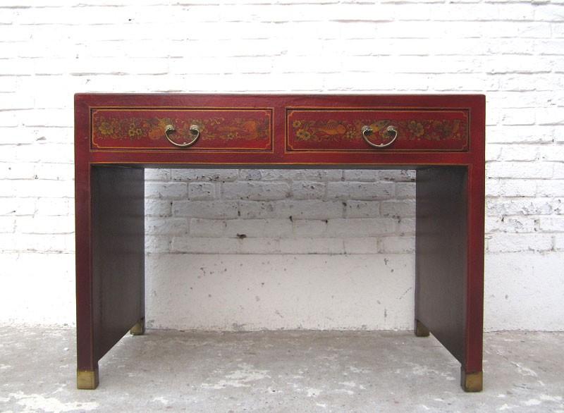 China Kleiner Sekretär Tisch Braun Lederfinish Vintage Holz Kaufen