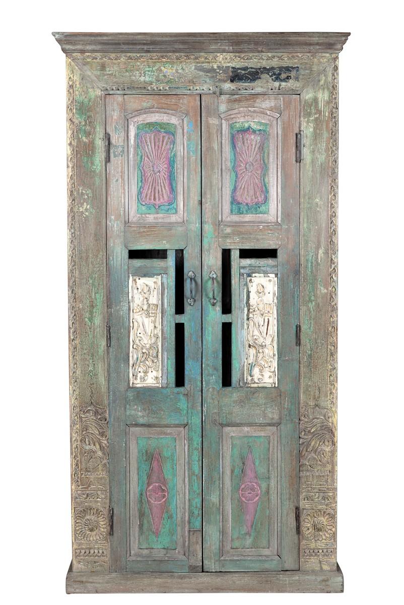Indien Kerala 1930 Hoher Schrank Hartholz Beschnitzt Und Bemalt