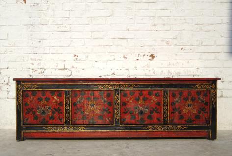 Tibet 1930 Flache Kommode Lowboard ideal für TV Fernseh Bildschirm Pinie - Vorschau