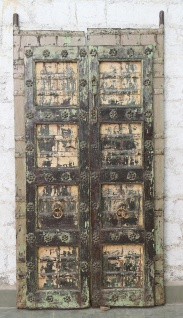 Indien massive Tür antik Teak VI-ED-030