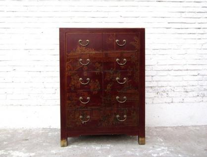 China Schubladenkommode rotbraun Lederoptik Vintage Pinienholz