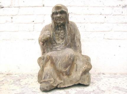 Mönch in Meditation sitzend Statue Figur Skulptur Pappelholz China 1910 von Luxury Park