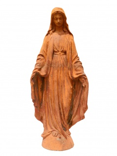 Edle Skulptur Dame mit Mantel Statue Gußeisen rostfarben Klassizistik