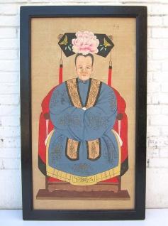 China Frauenportrait großes antikes Wandbild auf lackiertem Holz mit schwarzem Rahmen von Luxury-Park - Vorschau