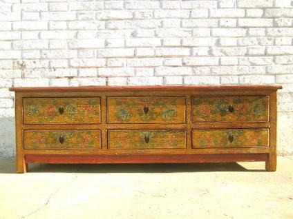 Asien TV Kommode Lowboard für Flachbildschirm schwefelgelb vintage Holz handbemalt