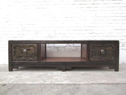 Asien großes Lowboard TV Tisch schwarzbraun Antik Stil Pinienholz