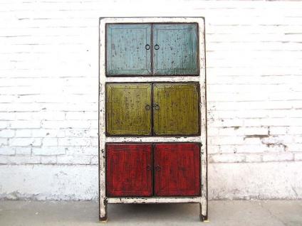 Asien bunte Kommode Kredenz halbhoher Schrank multicolor vintage Holz shabby chic