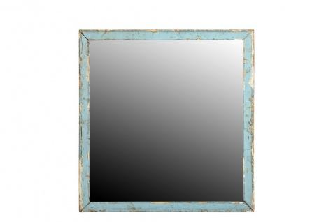 Indien quadratischer Spiegel lichtblauer Holzrahmen shabby chic look Einrichtung