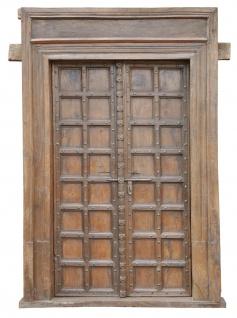 Indien hundert Jahre alte ultrabreite Kassetten Holz Tür Tor komplett mit Rahmen