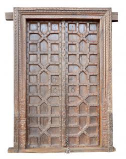 Indien 1910 antike Kassetten Holz Tür Tor mit massivem Rahmen von Luxury Park
