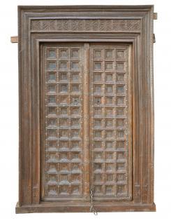 Indien 1910 breite Tür Tor massiver Rahmen zauberhaft gestaltet von Luxury Park - Vorschau