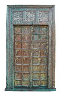India 1880 herrliche Antik Tür Tor komplett mit fein patiniertem Rahmen zum Einbau