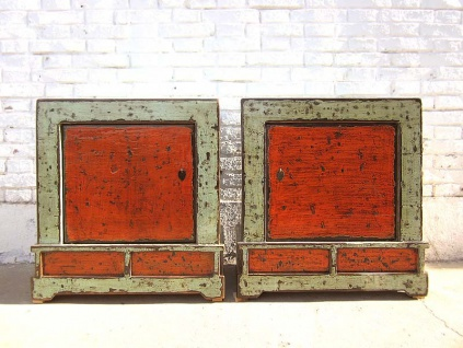 Mongolei zwei Nachttische Kommoden Paar rostbraun two tone optik vintage Antikholz