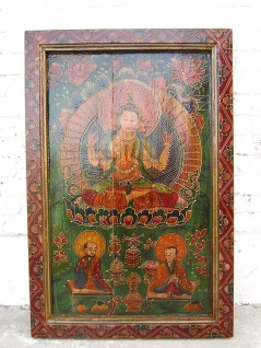 Tibet Asia Wandbild Gottheit traditionell bemalter Rahmen Vollholz