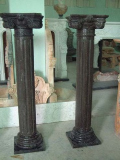 Kleine antike Säule Sockel für Tisch brauner Marmor Klassik Dekor