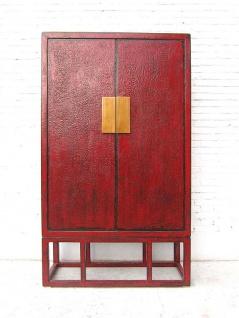 Asien großer rotbrauner Doppeltüren Schrank Messingbeschlag Pinie