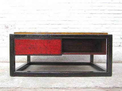 Asien Tisch Sockel Pinie Gestell schwarz Flächen rot braun