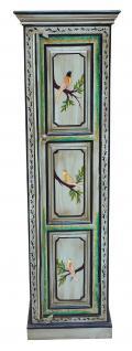 Indien hoher schmaler Schrank Säule hellblau bemalte Kassettenfront Vogelmotive - Vorschau