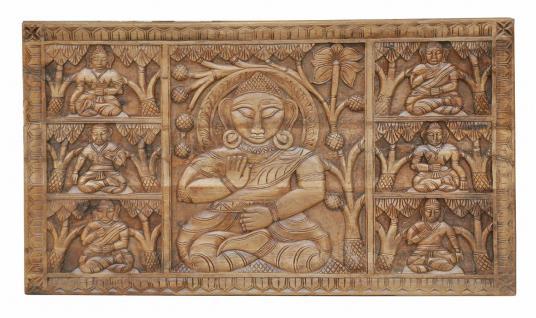 Indien altes Wandbild holzfarben Motiv Buddha Rajasthan von Luxury-Park - Vorschau