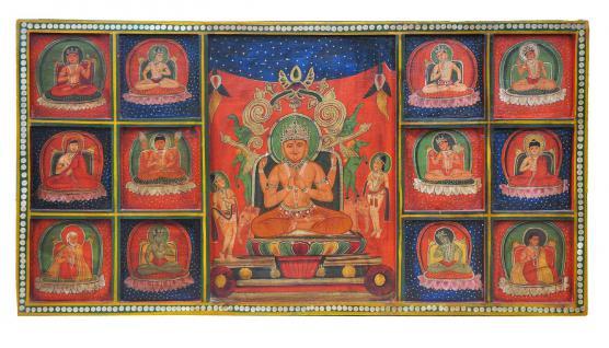 Indien altes Wandbild aus Holz mit großartigen Malerein traditioneller Motive - Vorschau