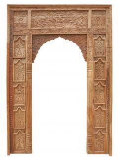 Indien mächtiger breiter Tür Rahmen Tor Massivholz fein beschnitzt