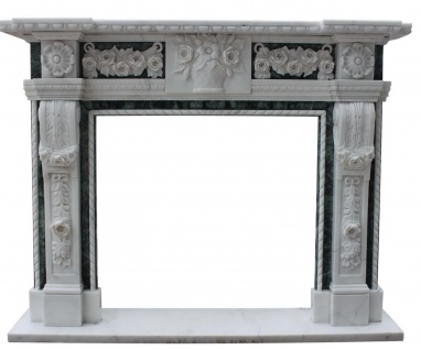 Marmorkamin schwarz-weiß, Kaminumrandung nach Maß massiv Marmor K107