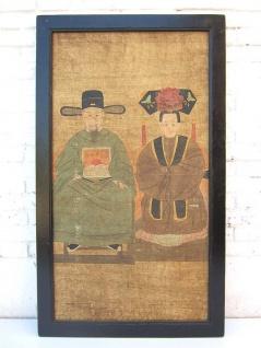 Antikes China großes klassisches Wandbild Motiv Hochzeits Paar auf lackiertem Holz von Luxury-Park