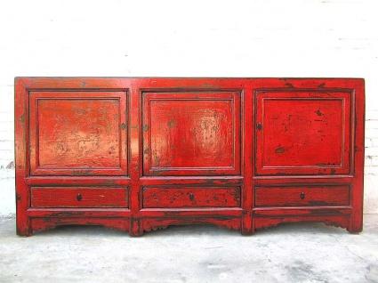 Asien großes Sideboard rotbraunes vintage finish Pinie