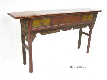 Chinesisches Tischchen aus natürlichem Holz mit feinen Drechslerarbeiten