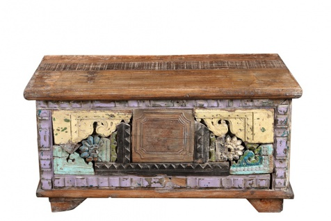India massive kleine Truhe Box traditionelle Bemalung auf antikem Holz