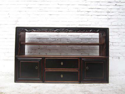 China shabby chic breite Kommode Regal Anrichte Sideboard Pinie antik schwarz 70 Jahre - Vorschau