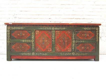 China 1940 filigran bemaltes flaches Sideboard Kommode rustikal florale Motive auf Pinienholz von Luxury-Park