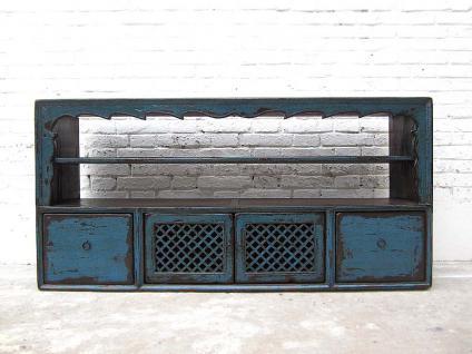 Mongolei Lowboard Anrichte für Flachbildschirm Schubladenleiste blaue Pinie shabby Stil von Luxury-Park - Vorschau