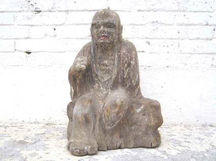 Mönch im Gespräch sitzend Statue Figur Skulptur Pappelholz China 1910 von Luxury Park - Vorschau