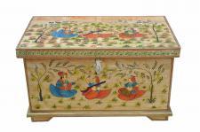 Indien kleine Truhe Box antike Bemalung Blumenbank