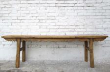 China Shanxi um 1860 antike Sitzbank helles Ulmenholz geschnitzt