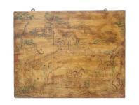 China Tibet 1900 Wandbild Malerei auf Holz klassisch antike Farbgebung