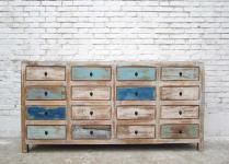 China breite helle Kommode Longboard im bunten shabby chic mit 16 Schubladen