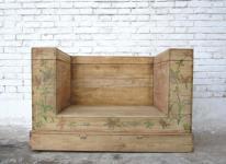 China Beijing um 1860 klassische Sitzbank Sessel helle Ulme naturfarben