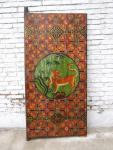 70 Jahre altes China Wandbild Tiger antike Bemalung auf lackiertem Holz klassische Szene