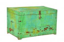 Indien 1920 kleine Truhe Box aus grün bemalter altem Teakholz