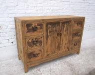 shabby chic CHINA massive cabinet buffet natural pine stained como I D SD.D.25