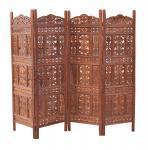Indien Paravent Raumteiler mannshoch Holz feines Intarsiendekor