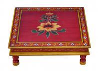 Indien flacher Tisch quadratisch Bajot Blumenmotiv Massivholz von Luxury-Park