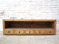 China Lowboard flache Kommode fünf Schubladen ideal für TV Flachbildschirm Pinie natur von Luxury Park