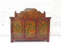 China Shanxi ca 1930 kleine Anrichte Frisierkommode mit Dekoraufsatz braunrot bemaltes Pinienholz von Luxury-Park
